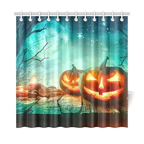 JSXMNA Home Decor Bad Vorhang Halloween Spooky Wald Bäume Und Kürbisse Polyester Stoff Wasserdicht Duschvorhang Für Badezimmer, 72 X 72 Zoll Duschvorhänge Haken Enthalten