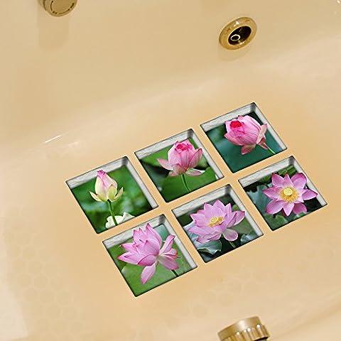 weian Creative Verde baño 3d pegatina de azulejos de cerámica impermeable pegatinas personalizada decorativo de madera mesa de comedor