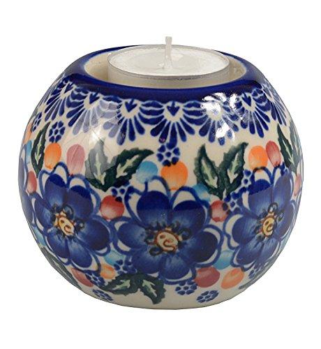 Bcv Classic Boleslawiec, Polish Pottery Hand Painted Ceramic Ball, Tea Lite Candle Holder 502-u-097