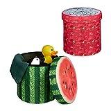 2x Sitzhocker Obst, Sitzwürfel, Falthocker mit Stauraum, Klapphocker, HBT ca. 38 x 38,5 x 38,5 cm, Melone, Drachenfrucht