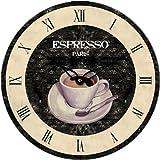 Technoline, WT 1015 - Quarzwanduhr im französischen Altstatd Design mit einer Tasse Espresso als Motiv