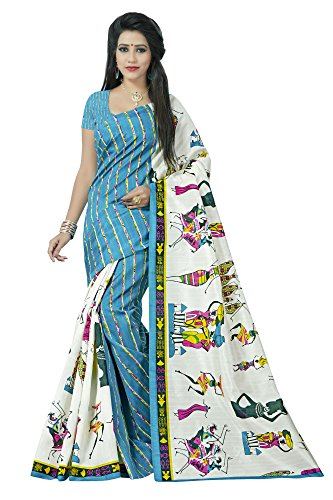 Jaanvi Fashion Women's Silk Saree With Blouse Piece (Figure-Prints-Blue_Blue)