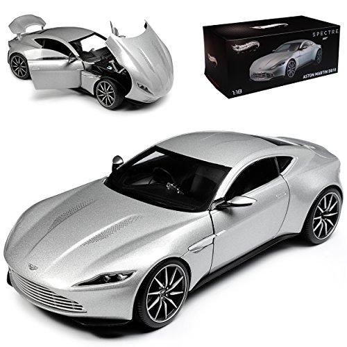 Mattel Aston Martin DB10 Coupe Silber James Bond Spectre Ab 2014 1/18 Elite Modell Auto mit individiuellem Wunschkennzeichen