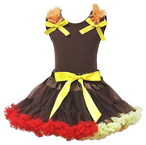 Turquie Dress Outfit - Thanksgiving robe marron Plaid en coton pour