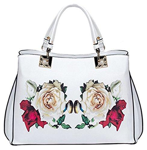 Kukubird Ciara Stampato Con Mirroring Rose Design Tote Bag Con Sacchetto Raccoglipolvere Su White