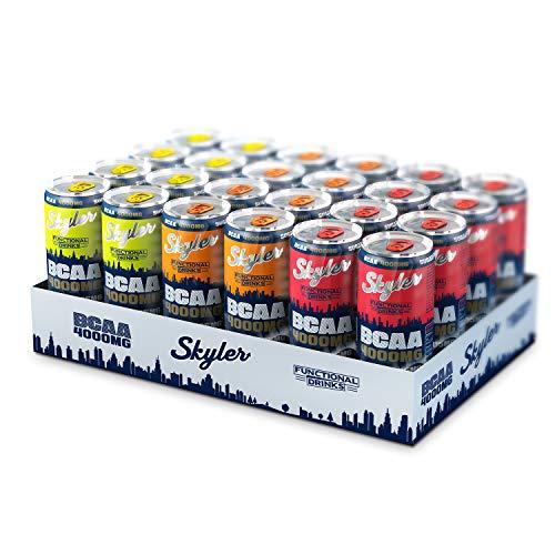 SKYLER 4.000 mg BCAA 3er Mix Probierpaket EINWEG, 24 x 330 ml, Hochleistungsgetränk mit 105 mg Koffein -