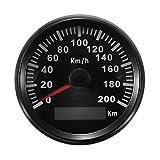 GOZAR 85Mm 200 Km/H GPS en Acier Inoxydable Indicateur De Vitesse Étanches Numériques Voiture Motorcucle