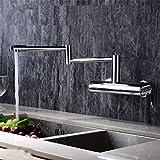 LXLLY Küchenarmatur, Küchenarmatur Kupfer heiß und kalt Einhand-Doppel-Loch in die Wand Klapp Waschbecken Wasserhahn