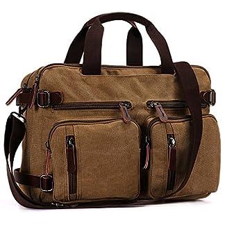 BAOSHA HB-22 Vintage lienzo bolso de mano hombres del maletín mochila Convertible bolsa de ordenador portátil mochila de viaje senderismo mochila marrón café 38.5 x 28.5 x 13 CM