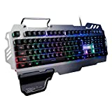 CAPTIANKN PK-900 USB Esports Gaming Keyboard, 7-Color Lights, Metal Frame, Ergonomic Compatible PC Keyboard