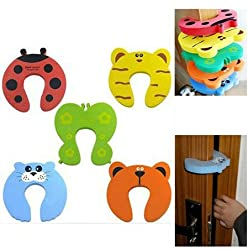 Royalkart 10pcs Premium Door Stopper Guard And Accidental Door Lock Protection For Baby Safety - Multi Color