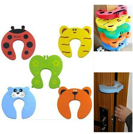Royalkart 5pcs Premium Door Stopper Guard And Accidental Door Lock Protection For Baby Safety - Multi Color