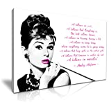 Audrey Hepburn Zitat I Believe In Pink Leinwand Kunstdruck Bild 76x 50cm