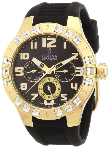 Festina Ladies Quartz Watch with Black Dial Analogue Display and Black Rubber Strap F16581/4