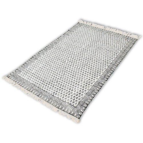 Preisvergleich Produktbild Festnight 100% Baumwolle Teppich Weiche 180x270cm Handwebteppich Flickenteppich für Wohnzimmer Schlafzimmer Kinderzimmer - Schwarz und Weiß