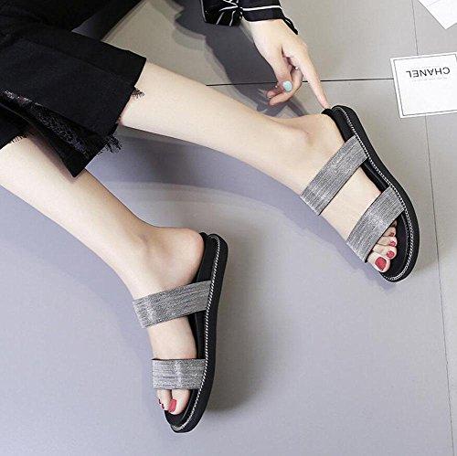 Novo Praia Cadeia Mulheres De Chinelos Prata Sandálias Metal Aberto Verão Sapatos Dedo Mulas Chão xqw8UPwt