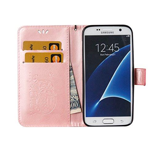 Für Samsung Galaxy S7 Premium Leder Schutzhülle, weiche PU / TPU geprägte Textur Horizontale Flip Stand Case Cover mit Lanyard & Card Cash Holder ( Color : Red ) Pink