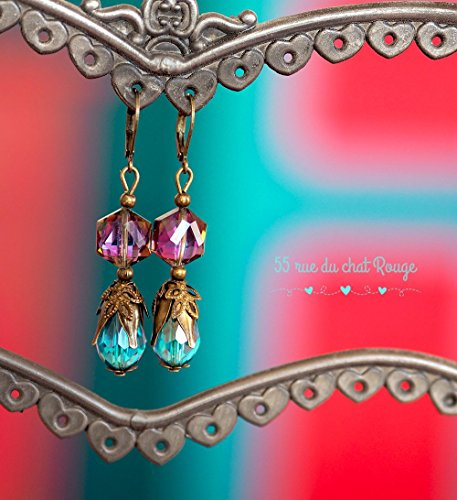 earrings-drops-facets-purple-and-turquoise-blue