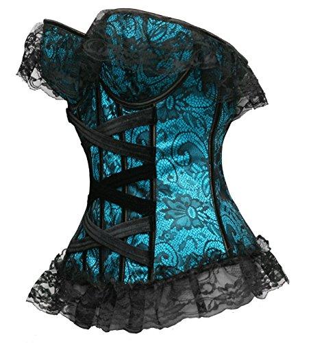 Bslingerie Korsett für Damen, Blumenmuster, aus Spitze und Satin, mit Stäbchen, Schwarz Blau