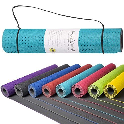 Goods & Gadgets Body & Mind Yogamatte - umweltfreundliche, Hypo-allergene Yoga TPE-Matte - extrem Rutschfest, weich und schadstoff-frei - 183 x 61 x 0,5cm inkl. Trageschlaufen - Türkies