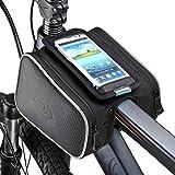 DCCN Fahrradrahmentasche, Oberrohrtasche, Fahrradrahmendoppeltasche, mit Haltetasche für iPhone/Android, Schwarz