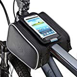 DCCN Bolso de Bicicleta Marco para el Tubo Frontal; Soporte de Doble Bolsa para iPhone Android, Color Negro