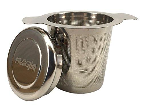 Teesieb für Tasse und Kanne aus hochwertigem 18/8 Edelstahl, mit Deckel. Sehr feinmaschig, für losen Tee (Edelstahl ohne Löffel)