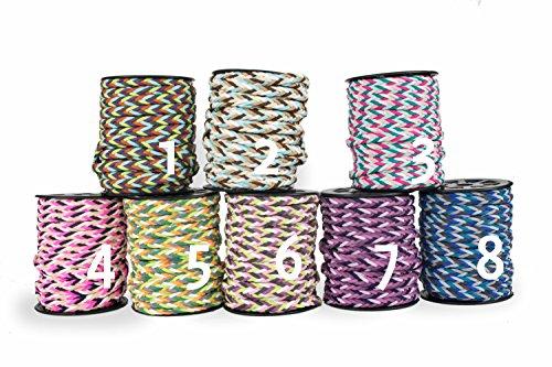 Modisches geflochtenes Band in vielen Farben zum Aussuchen. Für Armbänder, Colliers zur Dekoration oder als modisches Accessoire. Zum Basteln von Halsketten oder Modeschmuck (rosa rot weiss türkis petrol (Nr.3))