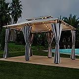 ArtLife Pavillon Ponza 3 x 4 m dunkelgrau | Gartenzelt mit Metallgestell inklusive Led Beleuchtung & Seitenwänden | Festzelt Partyzelt