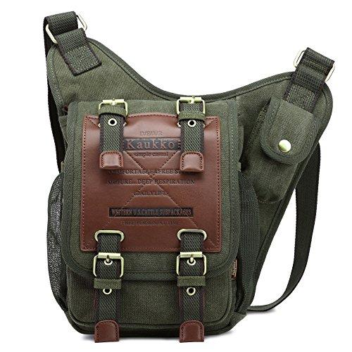 KAUKKO Segeltuch Jahrgang Brusttasche Männer Frauen Reise Wandern Schultertasche (Outfits Armee Für Männer)