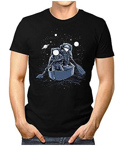 PRILANO Herren Fun T-Shirt - ASTRONAUT-BOATING - XL - Schwarz (Astronaut Kleidung)