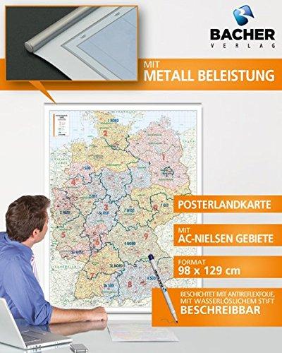 BACHER Postleitzahlenkarte Deutschland mit AC-Nielsen Gebieten, plano Untertitel:  Posterlandkarte mit 5stelligen PLZ und Bundesländern  1 : 700.000
