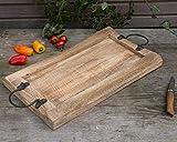Antikas Serviertablett aus Massivholz | 51 x 28 x 4 cm | Rustikales Servierbrett mit Griff | Käseplatte Holz