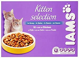 IAMS Adult Kitten Chicken Wet Cat Food 10 x 100 g Pouches (Pack of 2)
