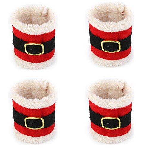 Lot de 4pcs Anneaux Ronds de Serviettes Décoration pour Mariage Noël