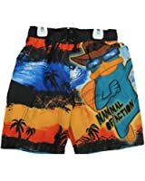 Phineas and Ferb Little Boys Orange Black Character Printed Swim Wear Shorts 4-7