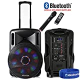 "Fenton Portable DJ PA Speaker System 15"" 800w Bluetooth Music Lights and Wireless"
