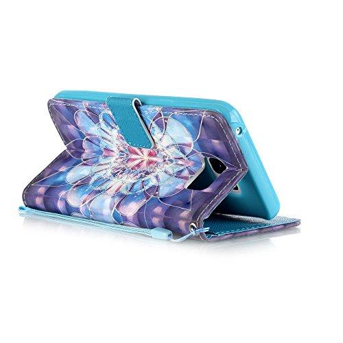 Huawei p9lite, [con protezione schermo gratuita], nanxi Colorful Nizza Pattern PU portafoglio in pelle con porta carte di credito slot Smart Standing stile ultra sottile custodia protettiva cover skin FLOWER