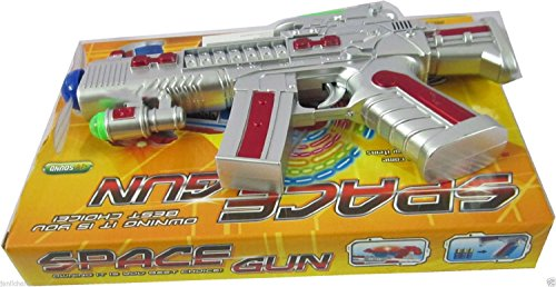 Space Gun Toy with LED Matrix Flashing Rotating Blades (Color May Vary)