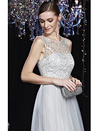 Beauty-Emily Sash Pailletten Spitze O-Ansatz Ohne Arm Abendkleider Grau