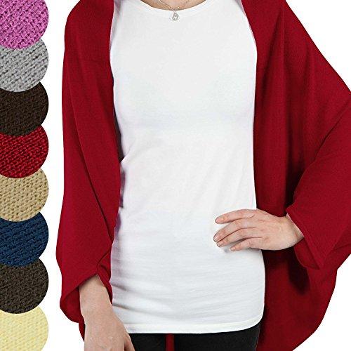 Jago Damen one Size Fledermaus Ärmel Strickjacken Cardigan Umhang Poncho in Verschiedenen Farben