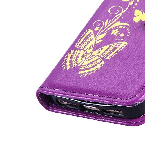 """Coque iPhone 6S Coque iPhone 6, MSK® Bronzante Papillon Fleur imprimé Etui Cuir Folio Portefeuille Protection Pour Apple iPhone 6S/iPhone 6 (4.7"""") Case Protection Cover - Vin Rouge Pourpre"""