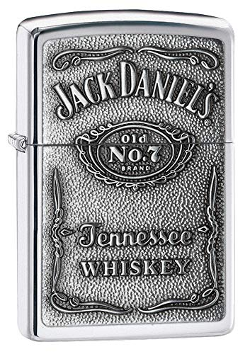 Zippo 1310011 Accendino Jack Daniel's ETICHETTA Cromo - weltberühmter Zippo GARANZIA - non riempito - robusto ottone alloggiamento - zündet BEI VENTO E Wetter