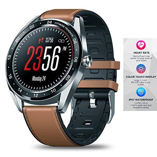 Meteor fire Bluetooth Fitness Tracker 1,3 Zoll IPS Farbe Touchscreen Smart Watch Blutdruck Pulsmesser Unterstützung Schrittzähler Anruferinnerung,Brown -
