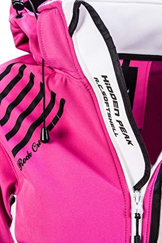 Rock Creek Damen Softshell Jacke Windbreaker Regenjacke Übergangsjacke Softshelljacke Damenjacke Regenmantel Outdoorjacke Kapuze D-402 Pink XS - 4