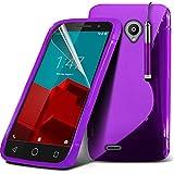 ONX3® (Purple) Vodafone Smart Prime 6 Hülle Abdeckung Cover Case schutzhülle Tasche Custom Made Rechtssache S zeichnen Wellen Gel Kasten Haut Abdeckung mit LCD Display Schutzfolie, Poliertuch und Mini versenkbaren Stylus Pen