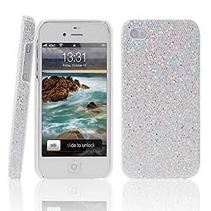 The BlingBling Schutzhülle Apple iPhone 4 4G 4S Hülle (harte Rückseite) 3D Bling Glitzer Strass Tasche Hülle Etui in weiß