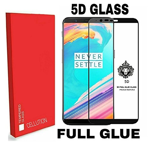 Cellution Pro HD+ 9H Hardness 5D Full Glue Antibacterial Toughened Full Screen Coverage Tempered Glass Screen Protector for OnePlus 5T/1+5T – Black