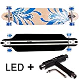 FunTomia® Longboard Skateboard Drop Through Cruiser Komplettboard mit Mach1® ABEC-11 High Speed Kugellager T-Tool (Modell Freerider2 - Farbe blau Blume mit LED Rollen + T-Tool)