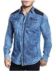 Tazzio - Chemise en jeans bleached à coudières